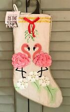 Fancy Flamingo Coastal Beach Christmas Stocking