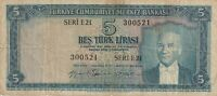 Vintage Banknote Turkey 5 Lirasi 1930 1959 Pick 155a Extremely Tough Note