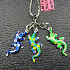 Betsey Johnson Cute Colorful Enamel Gecko Lizard Pendant Sweater Chain Necklace