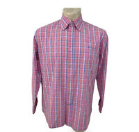 Southern Tide Mens Long Sleeve Button Down Plaid Shirt Pink Size Large Cotton