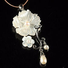 Mother of pearl Abalone Carved White Shell Flower long pendant necklace