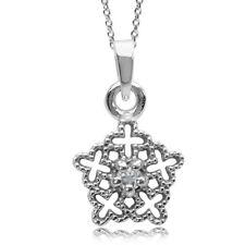 White Topaz Gemstone Snowflake Design Christmas Sterling Silver Pendant + Chain