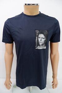 Limitato Mens Round Neck T Shirt Top Size M Medium Navy Blue Short Sleeve