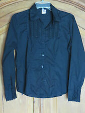Vintage Black Button Front Lace Trimmed Long Sleeve Shirt Blouse Top