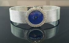 Omega De Ville 18k White Gold Women's Watch 22mm Factory Diamond Blue Lapis Dial