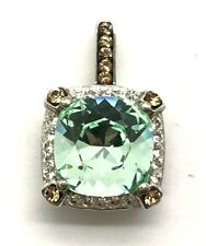Sterling Silver 925 Cushion Green Prasiolite / Citrine Bail X CZ Halo Pendant