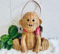 🆕 Kate Spade Wicker Monkey Bag Rambling Roses Collection RARE Novelty Wicker