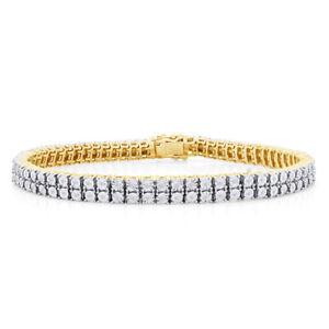 Mens Ladies 14K Yellow Gold Over Round 2 Row 6 MM Diamond Bracelet 8 Inch -IGI-