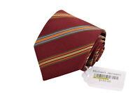 Robert Jensen NWT Silk Necktie in Maroon w/ Multi-Colored Stripes
