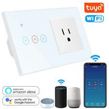 2 en 1 Wifi Zócalo Interruptor de Luz Inteligente Táctil Panel de Vidrio nos Enchufe Toma de pared