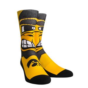 Rock 'Em Elite, Iowa Hawkeyes Wings Gold, Licensed Crew Socks