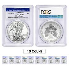 Lot of 10 - 2019 (W) 1 oz Silver American Eagle $1 PCGS MS 69 FS (West Point)