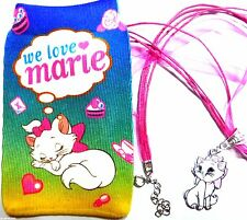 AristoCat Marie Charm Pendant on Pink Organza & Cord Necklace with Soft Pouch