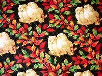 Vintage Fabric Yardage Chintz FLoating 3D Owls 1970s Very Hoo-Hool