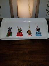 Rae Dunn Magenta Holiday Mistletoe Tray Platter dogs Artisan