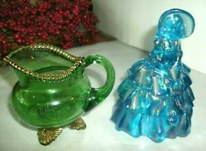 VINTAGE BLUE CARNIVAL GLASS COLONIAL LADY, GREEN GLASS CREAMER WITH GOLD TRIM, D