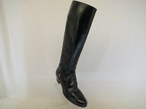 Salvatore Ferragamo Black Leather Zip Fashion Knee High Boots Size 7.5 AA