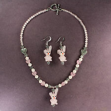 PINK LAMPWORK BUNNY RABBIT NECKLACE EARRINGS SET Hearts Flowers Crystals Silver