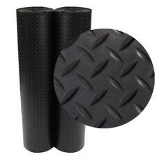 4 ft x 8 ft Rubber Flooring Mat Diamond Plate Black Garage Cover Roll Gym Indoor