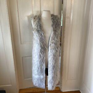 C&C California Faux Fur Long Vest Snow Leopard Glamour Dressy Fancy Medium New!