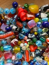 Lot Of Old Fancy Glass Beads 7.3 Oz All Colors Crafts Jewelry Making All Sizes