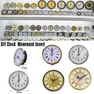 Clock Quartz Mechanism Movement Insert Roman Numeral White Face Gold Trim