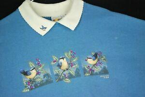 Vintage 90s Cute Birds Collard Crewneck Sweatshirt Blue Animal Morning Sun XL