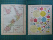 New Zealand Vintage Original 1910 Rand McNally World Atlas Map Lot