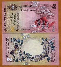 Sri Lanka / Ceylon, 2 Rupees, 1979, P-83, UNC > Fish, Lizard, Butterfly