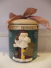 NIB Santa Claus Cookie Candy Jar Christmas Decor Happy Holidays