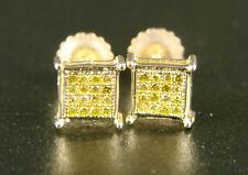 MENS/LADIES 6MM FULL CANARY COLOR DIAMOND STUD EARRINGS
