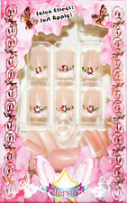 Starsire Pink French Style Diamonds Japan Acrylic Fake 24 3D Shiny Full Nails