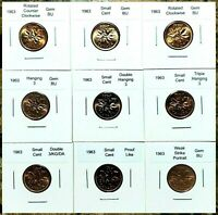 Canada 1963 Small Cent Set of 9 Different Variety & Error Choice BU Red Pennies!