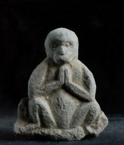 Antique Stone Seated Monkey Sarugami Shinto Late-Edo Period ca. 1850