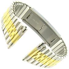 16-22mm Timex Two Tone Silver Gold Faux Buckle Twist O Flex Mens Watch Band 813