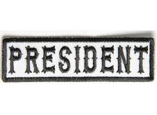 "PRESIDENT Black on White 3.5"" x 1"" iron on patch (4987) Biker Club SOA"