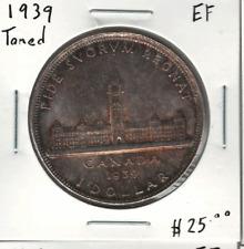 Canada 1939 Silver Dollar Toned EF