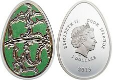 Cook Islands $5 Dollars, 20 g Silver Coin, 2013, Mint, Green Imperial Egg Easter