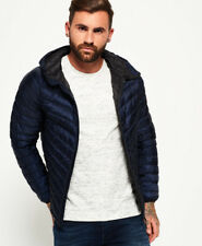 New Mens Superdry Micro Quilted Hooded Down Jacket Dark Navy