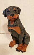 Lifelike Sitting Rottweiler Puppy Dog Statue
