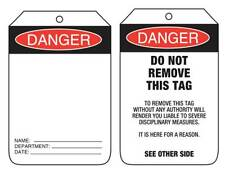 Danger Blank  Lock Out Tags Safety Sign 90x140mm  Pkt 100 Card UDT106
