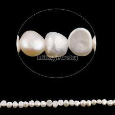 1 Strand White Natural Baroque Cultured Freshwater Pearl Beads DIY Craft Jewelry