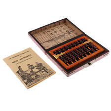 Vintage Chinese Wooden Bead Arithmetic Abacus with Box Ancient Calculator