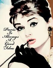 Audrey Hepburn #1 Paris Is Always A Good Idea Pop Art Canvas 16 x 20  #5410