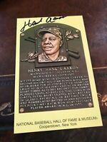Hank Aaron Braves auto  gold HOF plaque postcard autographed COA