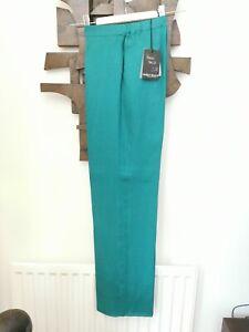 MARINA RINALDI UK 18 (MR 23) Emerald Green linen trousers