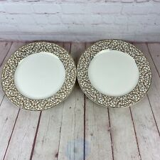 Pair Of American Atelier Florentine Scroll Gold Dinner Plates Discontinued
