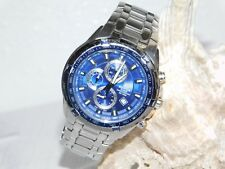 MENS CASIO EF-539 EDIFICE CHRONOGRAPH TACHYMETER WATCH STAINLESS STEEL BLUE FACE