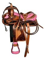 "Premium Leather Western Barrel Racing Pony/Adult Horse Saddle Seat Size 14""-18"""