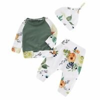 3PCS Newborn Infant Baby Girl Outfits Clothes Set T-shirt Tops+Pants Legging+Hat